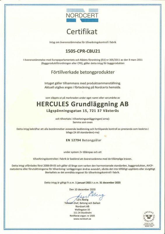 Certifikat för Västerås.